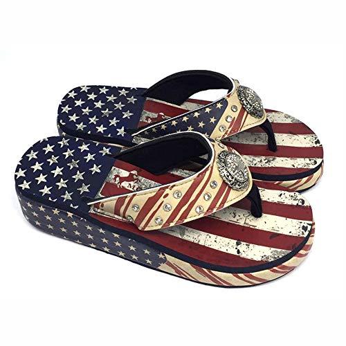 Montana West Bling Flip Flops Women's Flip Flops Casual Summer Sandal Rhinestones Platform Wedge Thong Sandals Americana Patriotic Size 9 US05-S089 RD9