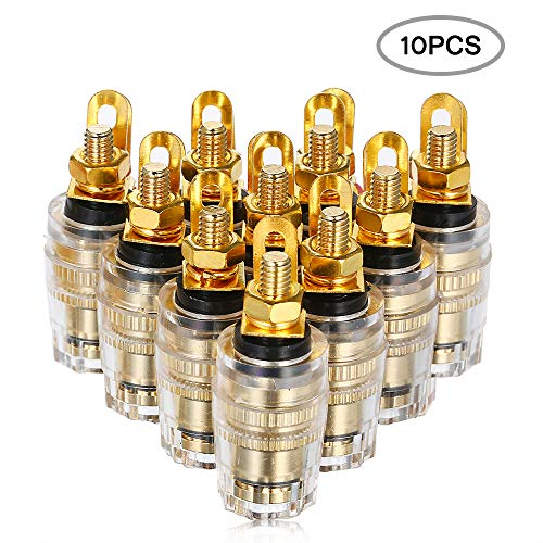 Fesjoy Terminal Binding Post, 10 piezas 4 mm chapado en oro Banana Plug Jack Pin Socket Conector Amplificador de potencia Dual Cobre para Amplificador Altavoz