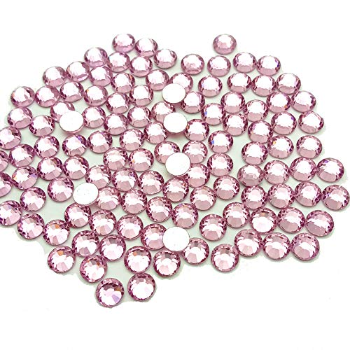 Queenme Glass Crystal Light Pink 3mm Flatback Rhinestones for Nail Art and Craft, Round Stone Gems Sparkly Diamond SS12 720pcs