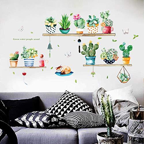 Wallpaper stickers voor kinderkamer, creatieve cactushanger met groene bladeren, om te knutselen in bloempotten, vinyl, zelfklevend en afneembaar, voor kinderkamer