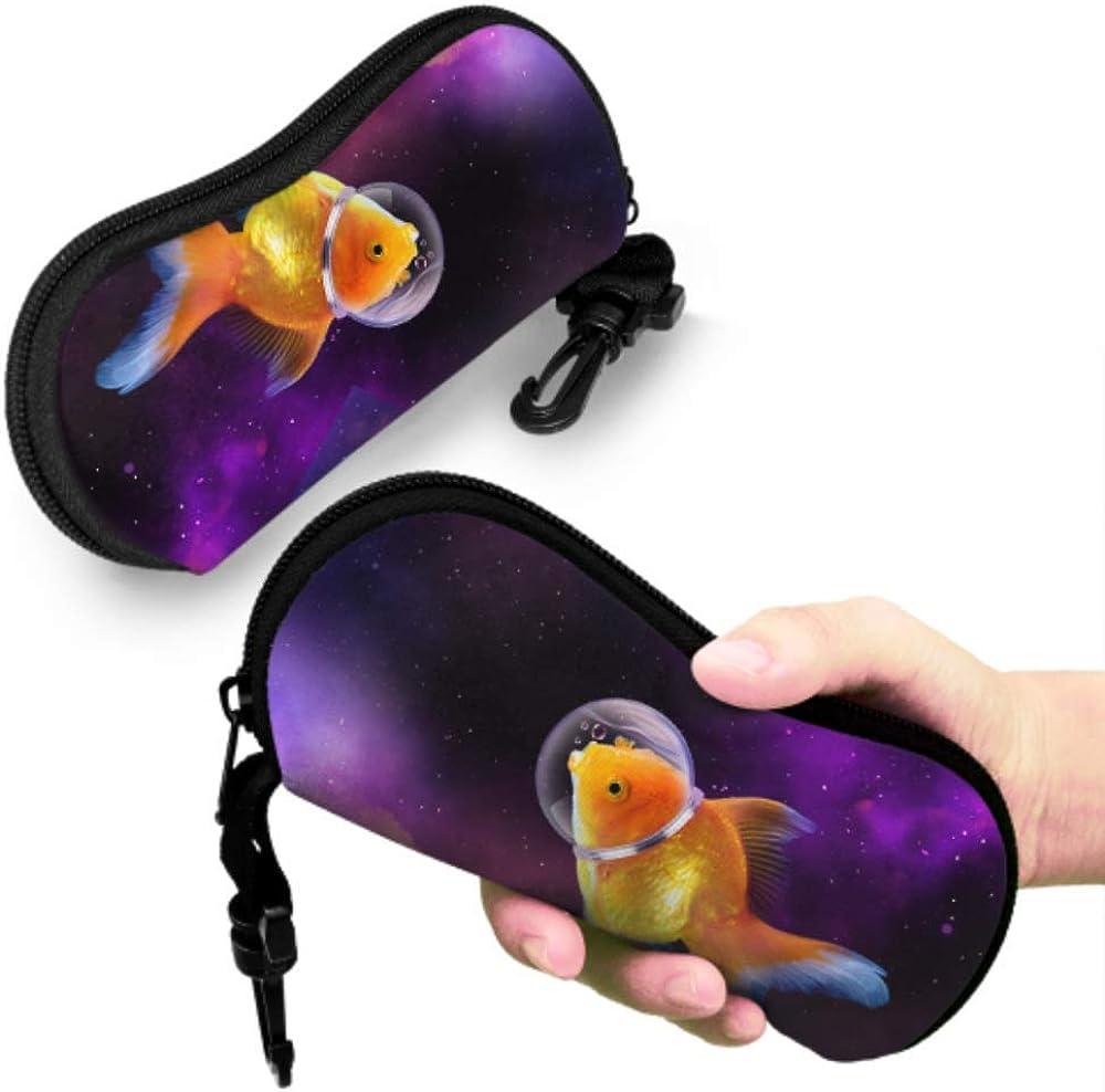 Brightly Colored Goldfish Soft Eyeglass Case For Women Eyeglass Glasses Case Light Portable Neoprene Zipper Soft Case Toddler Eyeglass Case