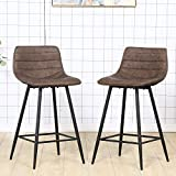 Bar Stools Set of 2 PU Leather Counter Stools with Back and Footrest Brown Modern Barstool Chair Height for Pub Coffee Home Dinning Kitchen