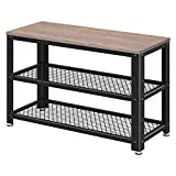 VASAGLE Bryce Shoe Bench, 3-Tier Shoe Rack, Storage Shelves with Seat, for Entryway, Living Room, Hallway, Accent Furniture, Metal Frame, Industrial Design, Weathered Sand ULBS73BH