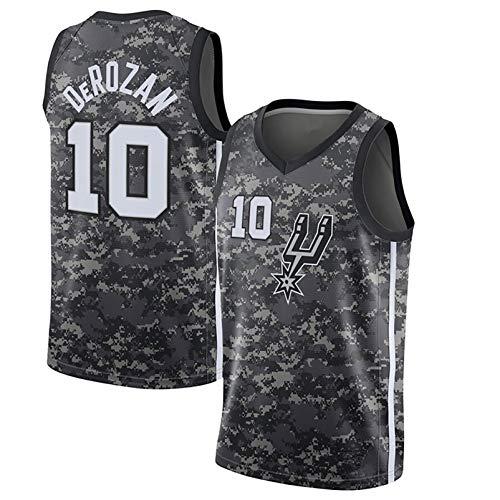 DULI Adulto Unisex DeRozan # 10 Spurs Bordado Swingman Jersey, Vintage Basketball Jersey Chaleco Deportes Top, 100% Poliéster Transpirable City Camo-XL