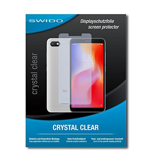 SWIDO Schutzfolie für Xiaomi Redmi 6A [2 Stück] Kristall-Klar, Hoher Festigkeitgrad, Schutz vor Öl, Staub & Kratzer/Glasfolie, Bildschirmschutz, Bildschirmschutzfolie, Panzerglas-Folie
