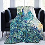 LuckyLou Peacock and Vintage Botanical Flannel Fleece Blanket Ultra Soft Cozy Warm Throw Lightweight Blanket Microfleece Blanket for Home(3 Sizes) 60' x50