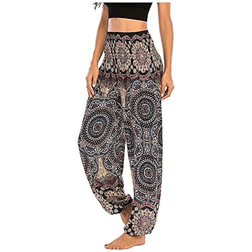 Women's Smocked Waist Harem Yoga Hippie Palazzo Boho Pants Floral Print Elastic Waist Summer Beach Casual Pants Holiday Party Brown