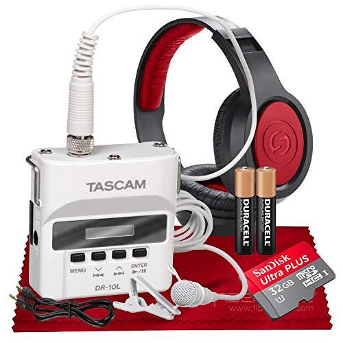 Tascam DR-10LW Portable Digital Recorder (White) Lavalier Mic 32GB Card Bundle