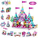VATOS Girls Building Blocks Set Toy, 568pcs Princess Castle Toys for Girl, 25 Models Pink Palace Bricks Toys, STEM Construction Kits for Kids, Girls Toys Gift for Age 6-12 Years Old