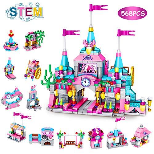 VATOS Prinzessin Burg Bausteine Spielzeug ab 6 7 8 9 10 11 12 Jahre für Mädchen, 568 Stück Kreativ Konstruktionsspielzeug 25-in-1 STEM Baukasten Schloss Pädagogisches Geschenk für Kinder