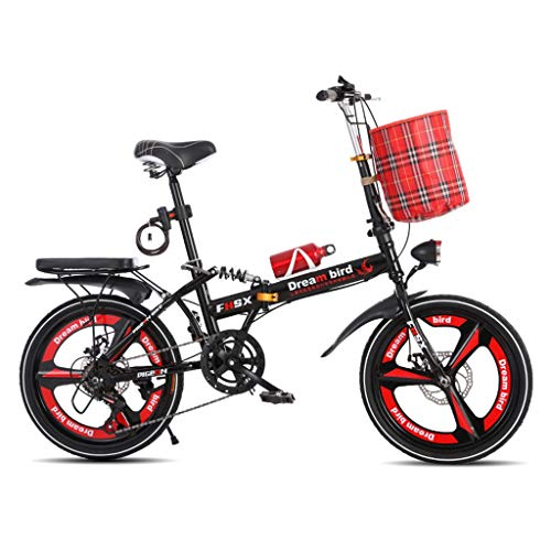 Gq2019 Bicycle Folding Shifting Disc Brakes 20 Inch Shock Absorption Unisex Ultralight Portable Folding Bicycle (Color : Red)