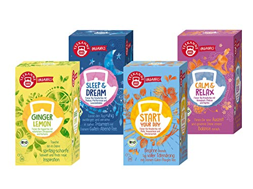 Teekanne Organics Tee 4er Set - Ginger Lemon, Start your Day, Sleep & Dream, Calm und Relax (4 x 20 Doppelkammerbeutel, 144 g)