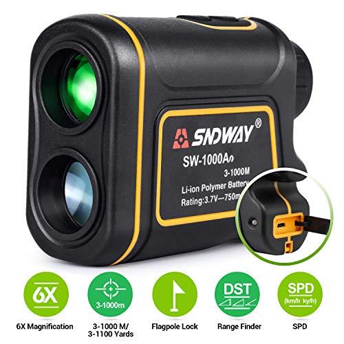 BEBANG Telemetro da Caccia Golf, Telemetro Laser 6X da 1100 Iarde con Sensore Pin, modalità Scansione velocità Altezza Angolo di Cantiere, Ricarica USB