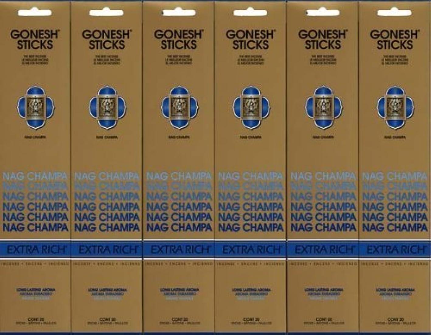 所属予報くさびGONESH NAG CHAMPA ナグチャンパ スティック 20本入り X 6パック (120本)