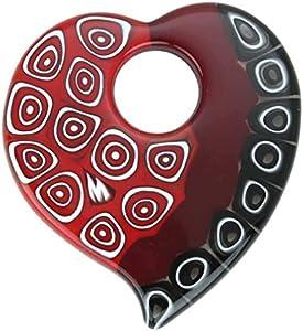 GlassOfVenice - Colgante elegante de cristal de Murano Millefiori con forma de corazón, color rojo y negro