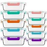 CREST Recipientes de vidrio para comida, 20 piezas (10 envases + 10 tapas), sin BPA, 5 colores