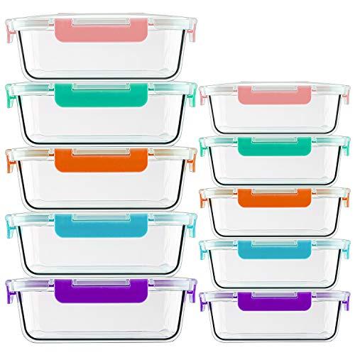 CREST Récipient En Verre - Boîtes Alimentaires - 20 pièces (10 récipients + 10 couvercles) - Sans BPA - Boîte Micro-Onde en Verre - 5 coloris