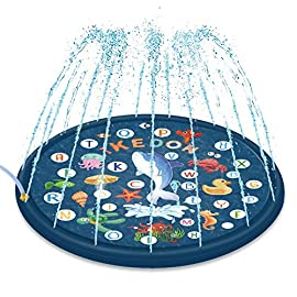 ikedon 68'' Sprinkler for Kids, 3-in-1 Splash Pad, from A to Z Toddler Pool for Wading Swimming and Learning, Inflatable… 1 This splash pad helps create countless hours of fun for kids having a blast standing, sitting, wading, splashing, and cooling down in it upon the summer heat, which is the best alternative for water party on beach, garden, lawn, swimming pool and so on. You just need 5 minutes to attach, simply lay it out, hook it to a hose, and turn the water on. Then it takes less then 5 minutes to fill fully with water and start spraying, no inflating required. This sprinkler for kids is made from heavy-duty and durable PVC material, 25% thicker than others, ensuring no seams or large holes. Meanwhile, the joint where hoses attaches is strengthened for preventing leaking at the connection.