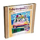 Arenart | 1 Lámina Excursion Bus 38x38 cm. Reproducción del Autor Leandro Lamas |para Pintar con Arenas de Colores | Manualidades para Adultos y Jóvenes | Dibujo Fácil | Pintar por números | +9 años