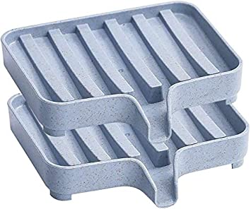 NELAHSHA 2 PCS Soap Dish with Drain Silicone Soap Dish Holder Novelty Square Bar Self Draining Soap Case Easy Clean /& Quick Dry Handmade Soap Tray for Shower Bathroom Bathtub Kitchen Travel White