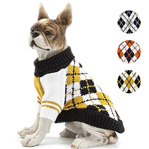 BOBIBI Dog Sweater of The Diamond Plaid Pet Cat...