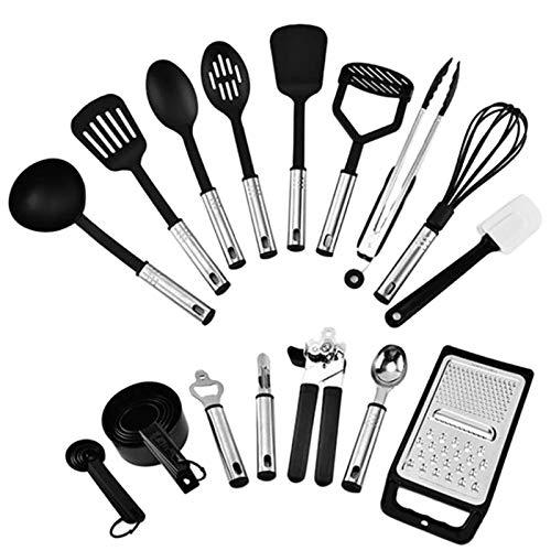 Utensilios de cocina de silicona 24 piezas utensilios de cocina de silicona herramienta de acero inoxidable cuchara batidor conjunto para utensilios de cocina antiadherente