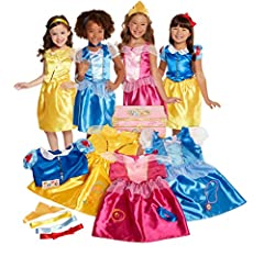 Dressing up has never been so enchanting With four different Disney Princess outfits to choose from, your child will have hours of fun dressing up as her favorite characters This Amazon exclusive 21 piece deluxe dress up trunk includes four classic D...