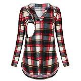 Mitlfuny Primavera Verano Ropa premamá Camiseta de Lactancia Maternidad para Mujer Algodón Camisa de Manga Larga Amamantar Blusa Mujeres Cuello V Celosía EnfermeríA Tops