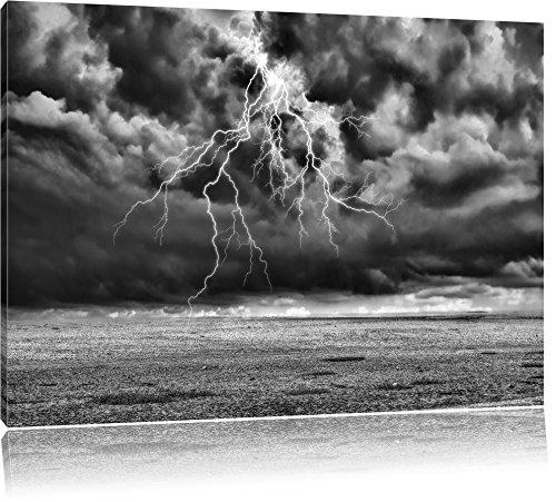 Pixxprint Gewitter über Meer als Leinwandbild | Größe: 80x60 cm | Wandbild | Kunstdruck | fertig bespannt