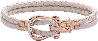 PAUL HEWITT Schäkel Armband Damen PHINITY mit der Option Einer individuellen Wunschgravur - Personalisiertes Leder Armband mit Schäkel Verschluss aus Edelstahl