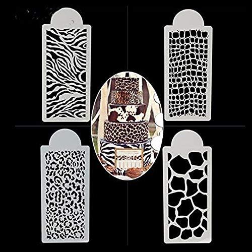 WYD 4PCS Wedding Birthday Cake Decorating Bakery Tools Zebras and Leopard Print Cake Templates Fondant Template Stencil Mold