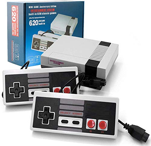 Heithen Classic Mini NES Retro Console, AV Output Game Console Built-in 620 Games with 2 Classic Controllers (Gray)