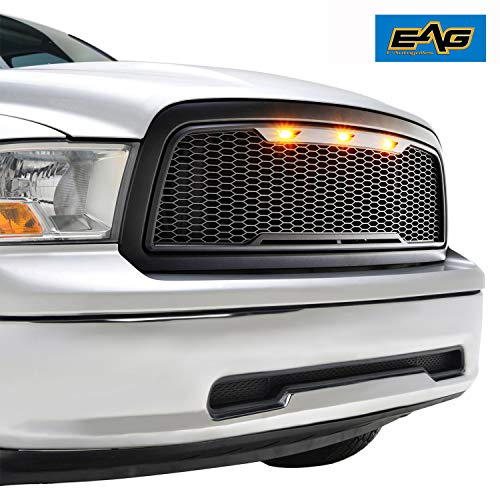 EAG Replacement ABS Upper Grille Front LED Grill - Matte Black - with Amber LED Lights Fit for 09-12 Ram 1500