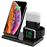 Hoidokly 3 in 1 Caricatore Wireless, Qi Ricarica Rapida Wireless, 7.5W Caricabatterie Senza Fili Station, Fast Charger per iPhone SE2/11 PRO Max/XS/XR/X/8 Plus, IWatch Series 5/4/3/2/1, Airpods 2/PRO