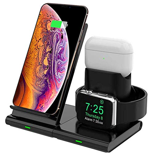 [3 in 1 Caricatore Wireless per Apple] - Base di supporto progettato specificamente per ricaricare 3 dispositivi contemporaneamente il come il cellulare, orologio, cuffie wireless in totale sicurezza. Funziona per iPhone, Airpods, Apple Watch Series ...