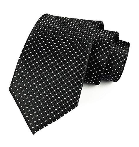 Mens Black Silk Ties Micro Checkered Wedding Party Suit Microfiber Handmade Neckties Diamond Patterned Silk Tie