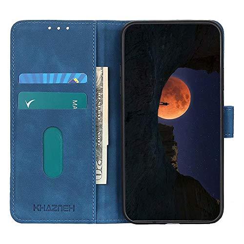 Dhongf Fundas para movil Samsung Galaxy M32,Funda Móvil Samsung Galaxy M32 Magnetica Hebilla Antigolpes Funda con Solapa para Samsung Galaxy M32 Azul