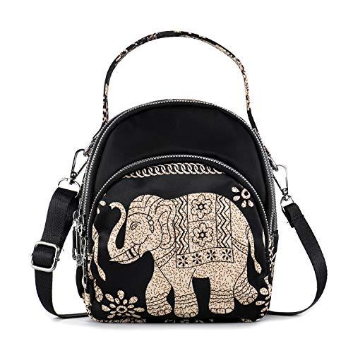LaRechor Ethnisch Elefant Kleine Umhängetasche Handtasche Schultertasche für Damen Tote Tasche Mini Rucksack Nylon Frauentasche