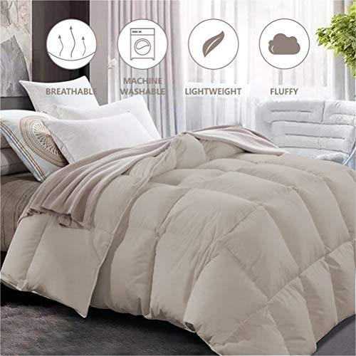 Maple Down Comforter Queen Size Duvet Insert, Down Alternative Comforter Quilted with Corner Tabs for All Season, Soft & Breathable Brushed Microfiber Machine Washable (Light Brown,90'' 90'')