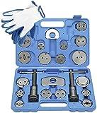 ブレーキメンテの必需品、ディスクブレーキピストンツール 18種類のピストンアダプター 国産車、ヨーロッパ、そしてアメリカの車にフィット ブレーキパットや、ブレーキディスクの交換用に使用 防錆サンドブラスト仕上げのすべてのCNC機械加工合金鋼部品は、繰り返しの使用と長期的なサービスに耐えます 左右のスラストボルトアセンブリを含む