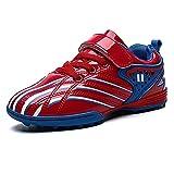 Botas de fútbol para niños Zapatos de fútbol TF Ligeros con múltiples Tacos Zapatos de Entrenamiento al Aire Libre para niños y niñas Rojo 29 EU