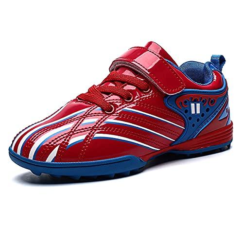 Botas de fútbol para niños Zapatos de fútbol TF Ligeros con múltiples Tacos Zapatos de Entrenamiento al Aire Libre para niños y niñas