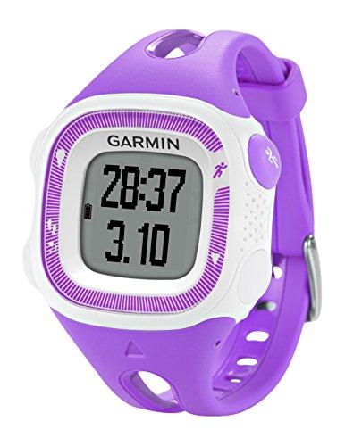 Garmin Forerunner 15 HRM - Reloj deportivo con GPS y monitor de actividad con monitor de frecuencia cardiaca, color violeta y blanco, talla S