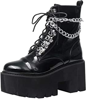 Chunky High Heel Booties for Women Platform Combat Ankle Boots with chain Block Heel Motorcycle Boots Lace up Mid Calf Boots
