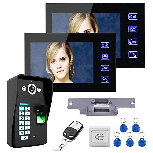 Videoportero de 7 pulgadas, intercomunicador, RFID huella digital contraseña, timbre de video con cable, 2 monitores + cámara de visión nocturna + cerradura eléctrica + control remoto