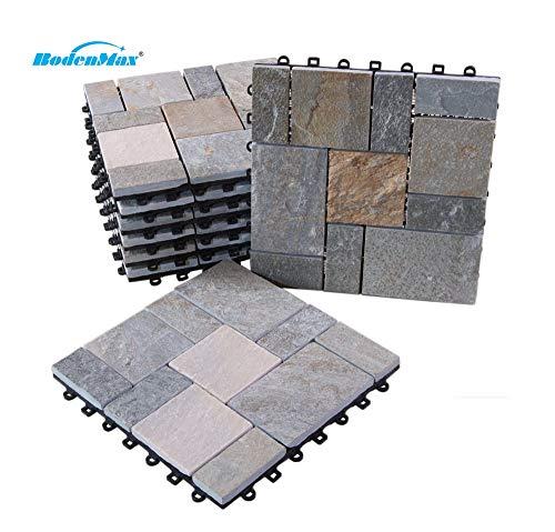 BodenMax Pack de 8 Dalles Clipsables en Quartz 30x30x2,5cm – Dalles Emboîtables pour Terrasse, Jardin, Balcon, Piscine, Sauna, Intérieur et Extérieur