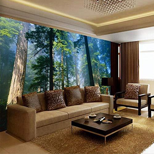Msrahves Foto Mural Pared 3D Niebla grandes árboles plantas paisajes naturales. Fotomural...
