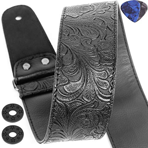 Best for all Guitar Types: Guitar Strap, Printed Leather Guitar Strap PU Leather   Western Vintage