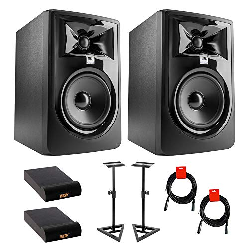 JBL 305P MkII Powered 5' Studio Monitor (Pair) Bundle with Studio Monitor Stands (Pair), 2x Small Pads & XLR-XLR Cable
