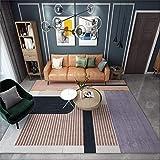 AU-SHTANG alfombras Entrada Alfombra de diseño de patrón de Tiras de Color marrón Claro, Mesa de Centro Transpirable, Alfombra Lavable alfombras Grandes Baratas -Marrón Claro_El 180x200cm